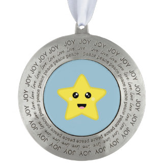 Kawaii Star Round Pewter Ornament