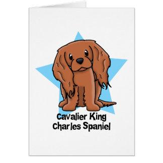 Kawaii Star Ruby Cavalier King Charles Spaniel Card