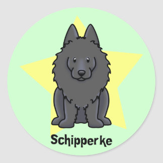 Kawaii Star Schipperke Classic Round Sticker