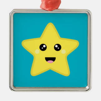 Kawaii Star Silver-Colored Square Ornament