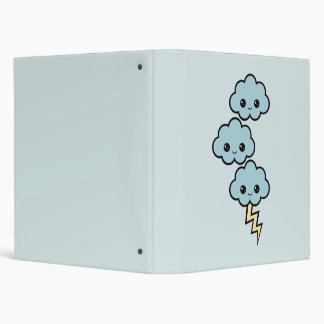 Kawaii Storm Clouds 3 Ring Binder
