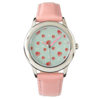 Kawaii Strawberry and Flowers Watch
