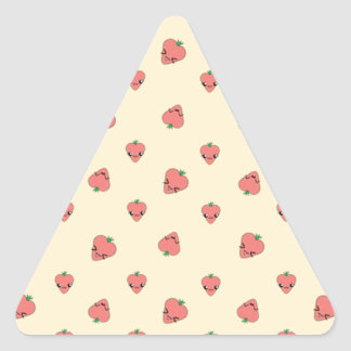 Kawaii Strawberry Background Triangle Sticker