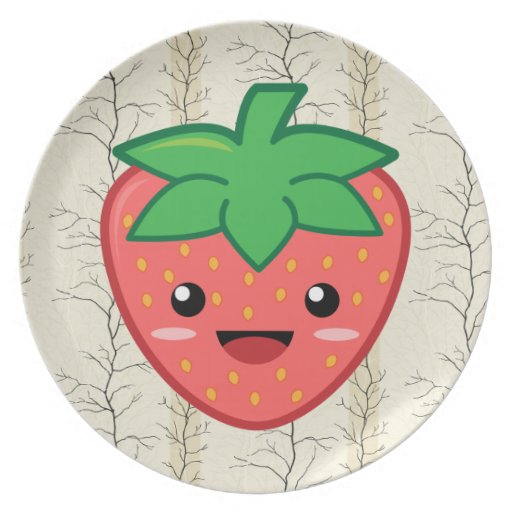 Kawaii Strawberry Dinner Plate