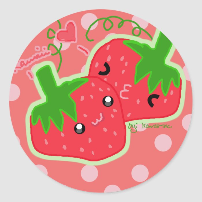 Kawaii Strawberry Round Sticker