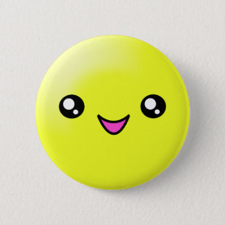 Kawaii Sugar Dots Lemon Happy Face Button