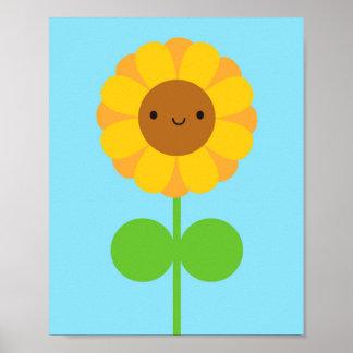Kawaii Sunflower Poster