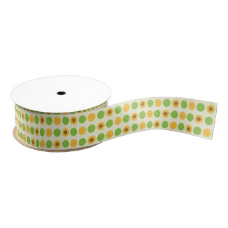 Kawaii Sunflowers Polka Dot Grosgrain Ribbon