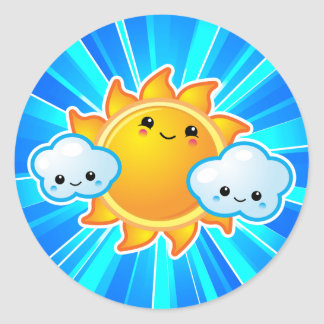 Kawaii Sunny Day Classic Round Sticker