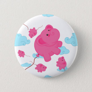 Kawaii Super Cute Flying Funny Elephant Balloon 2 Inch Round Button
