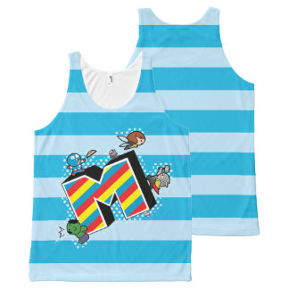Kawaii Super Heroes on Striped M All-Over-Print Tank Top