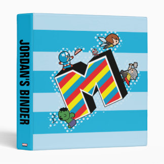 Kawaii Super Heroes on Striped M Binders