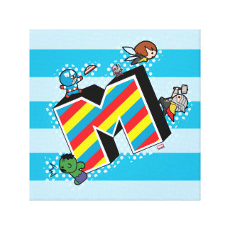 Kawaii Super Heroes on Striped M Canvas Print