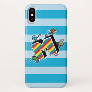 Kawaii Super Heroes on Striped M Case-Mate iPhone Case