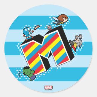 Kawaii Super Heroes on Striped M Classic Round Sticker