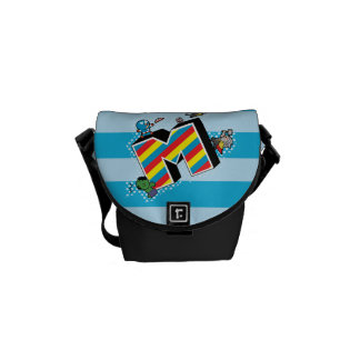 Kawaii Super Heroes on Striped M Courier Bag