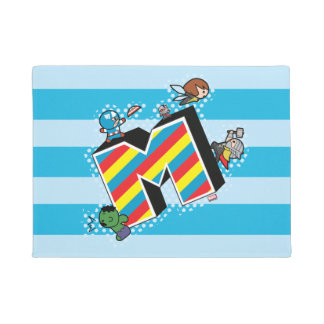 Kawaii Super Heroes on Striped M Doormat