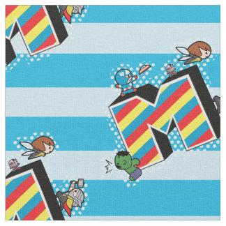 Kawaii Super Heroes on Striped M Fabric