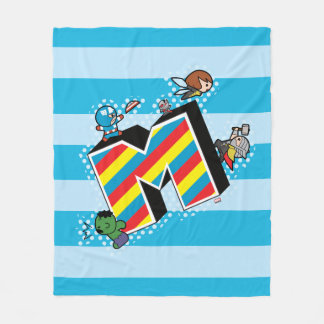 Kawaii Super Heroes on Striped M Fleece Blanket