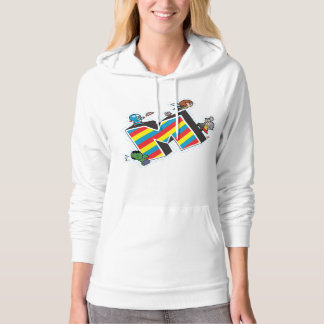 Kawaii Super Heroes on Striped M Hoodie