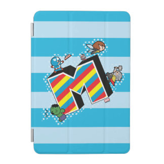Kawaii Super Heroes on Striped M iPad Mini Cover