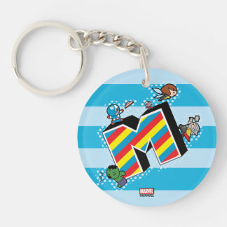 Kawaii Super Heroes on Striped M Keychain