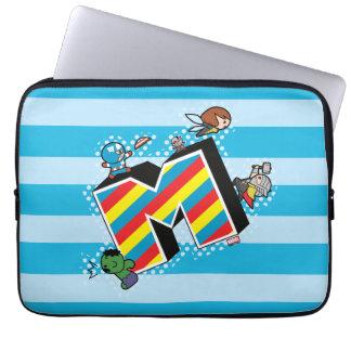 Kawaii Super Heroes on Striped M Laptop Sleeve