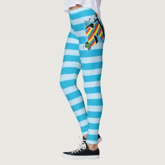Kawaii Super Heroes on Striped M Leggings