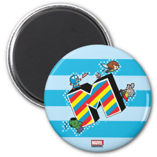 Kawaii Super Heroes on Striped M Magnet