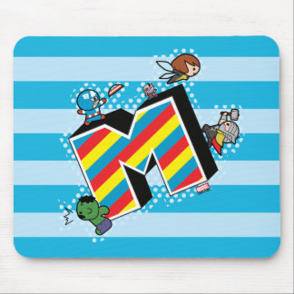 Kawaii Super Heroes on Striped M Mouse Pad