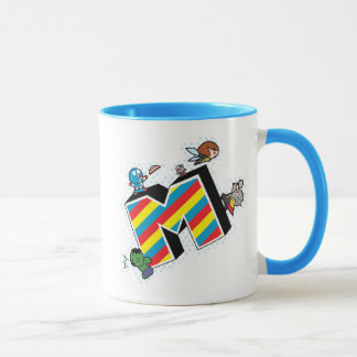Kawaii Super Heroes on Striped M Mug