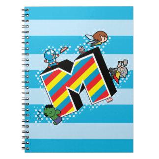 Kawaii Super Heroes on Striped M Notebook