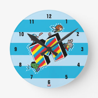 Kawaii Super Heroes on Striped M Round Clock