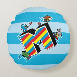 Kawaii Super Heroes on Striped M Round Pillow