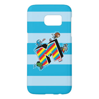 Kawaii Super Heroes on Striped M Samsung Galaxy S7 Case