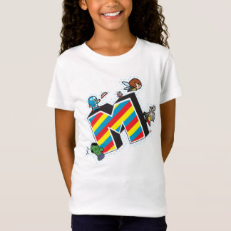 Kawaii Super Heroes on Striped M T-Shirt