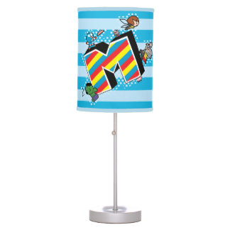 Kawaii Super Heroes on Striped M Table Lamp