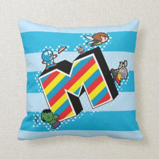 Kawaii Super Heroes on Striped M Throw Pillow