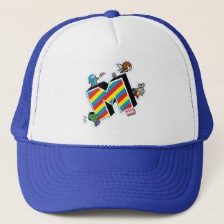 Kawaii Super Heroes on Striped M Trucker Hat