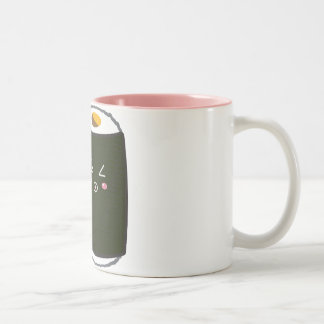 Kawaii Sushi Roll with Nadel the Cat Two-Tone Coffee Mug