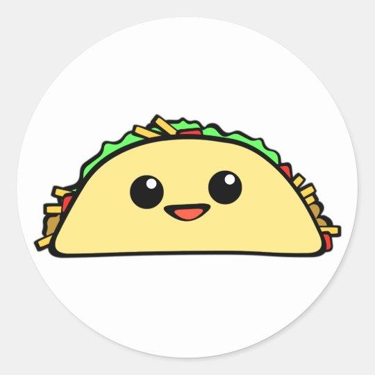Kawaii Taco Classic Round Sticker