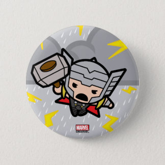 Kawaii Thor With Lightning 2 Inch Round Button