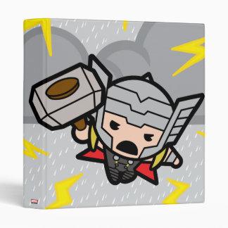 Kawaii Thor With Lightning 3 Ring Binder