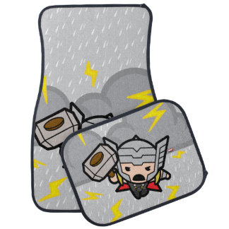 Kawaii Thor With Lightning Car Mat