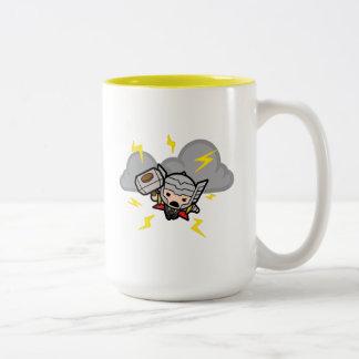 Kawaii Thor With Lightning Two-Tone Coffee Mug