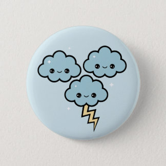 Kawaii Thunder Clouds 2 Inch Round Button