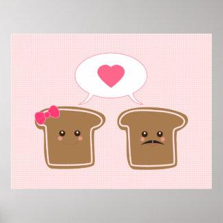 Kawaii Toast Love Poster