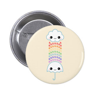 Kawaii Umbrella with Rain 2 Inch Round Button