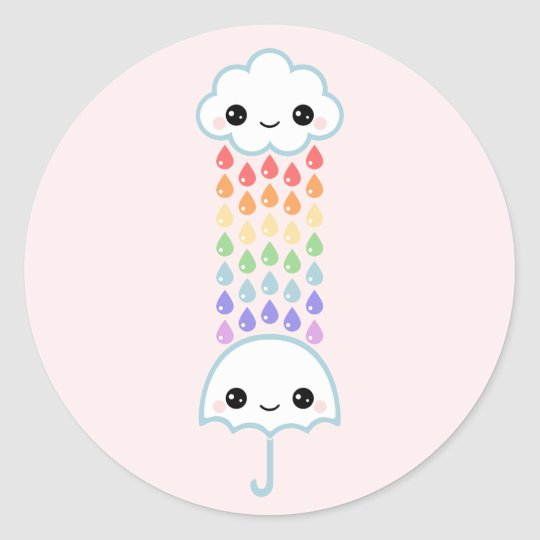 Kawaii Umbrella with Rain Round Sticker