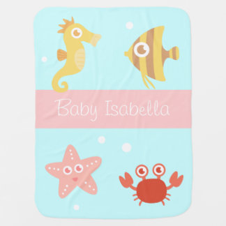 Kawaii Underwater Animals, For Babies Baby Blanket